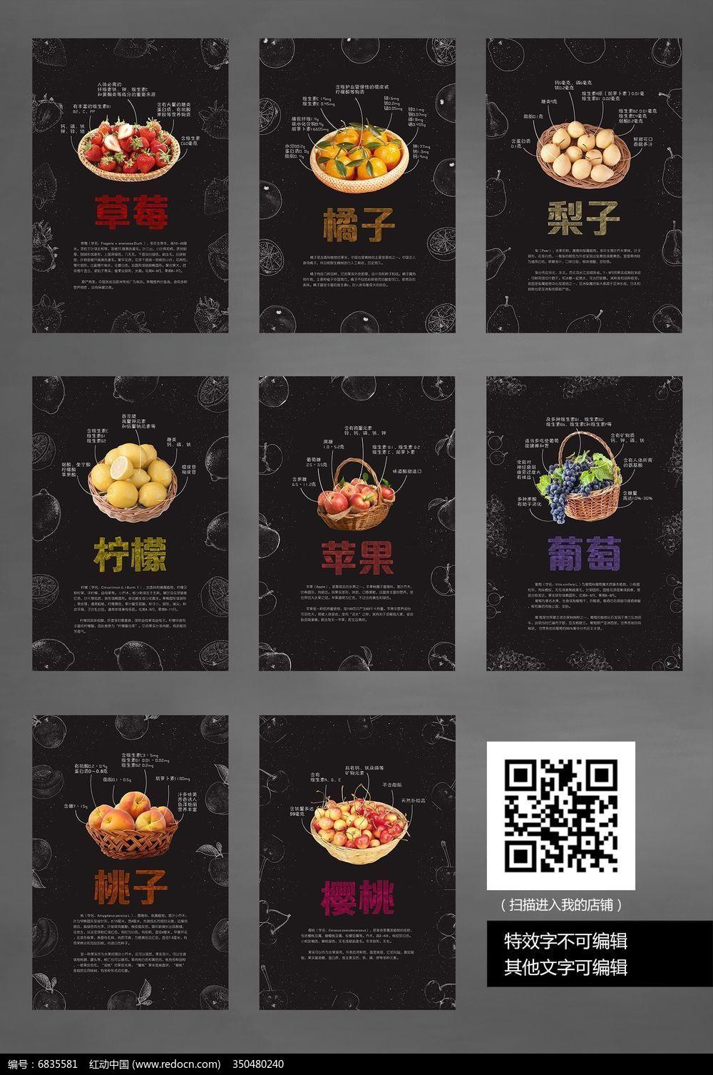 创意食堂文化水果展板设计