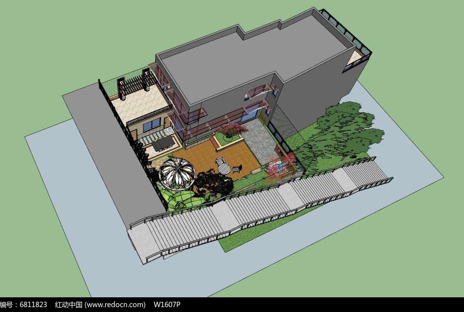 花园施工设计全套完整SKP模型图片