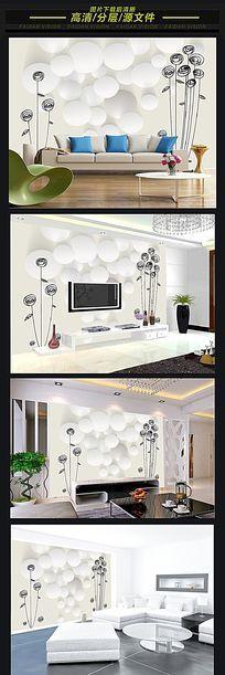 3D立体手绘玫瑰电视背景墙壁画