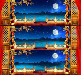戏曲元素戏曲宫殿古典月夜大宫殿大屏素材