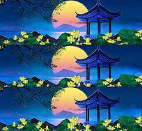 中国古典戏曲荷花花园中秋节大屏led素材