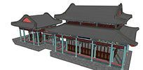 中式古建彩绘建筑