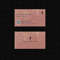 简约大气欧美牛仔复古风格棕色涂鸦高档二维码商务名片