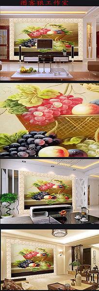 3D立体油画水果背景墙