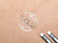 牛皮纸背景LOGO标志展示样机