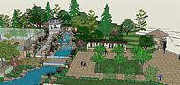 欧式风格公园景观模型