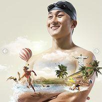 运动员奥运游泳海报