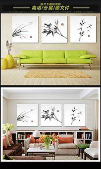 中国风水墨竹子无框画