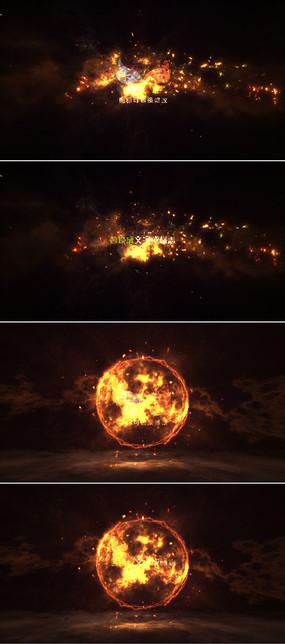 三个大气粒子火焰logo标志演绎ae模板