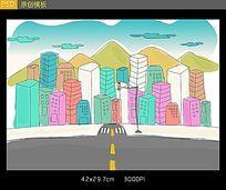 城市街道卡通图片PSD