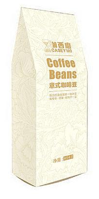 浅黄色欧式底纹咖西磨意式咖啡豆立式包装袋设计