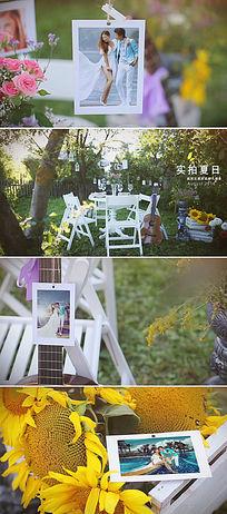 实拍夏日花园婚礼家庭摄影通用相册模板