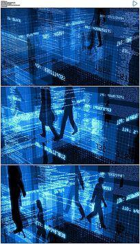 蓝色商务剪影数字科技空间合成背景视频