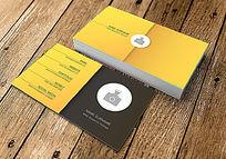 沙黄色简约名片设计