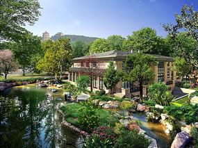 别墅花园景观设计效果图