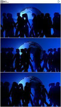 转动的地球和来回走动的人物剪影合成背景视频素材