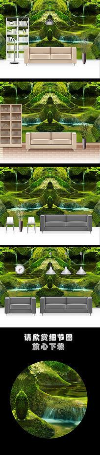 自然风光青山绿水壁画客厅电视背景墙