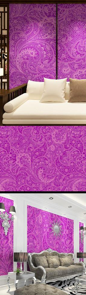 紫色背景花紋印花圖案
