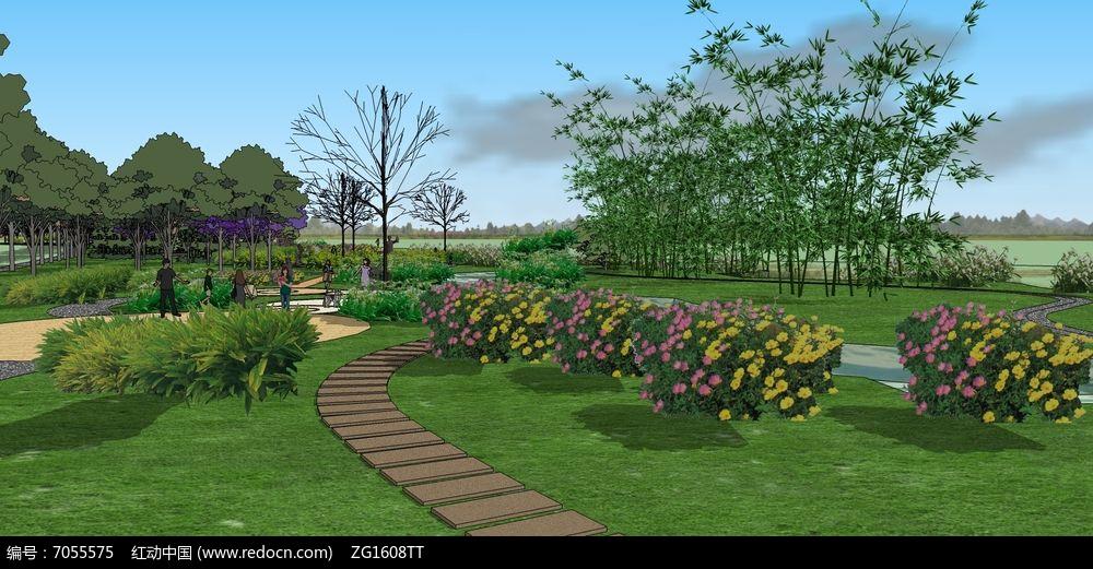 沿河条状湿地公园场景模型
