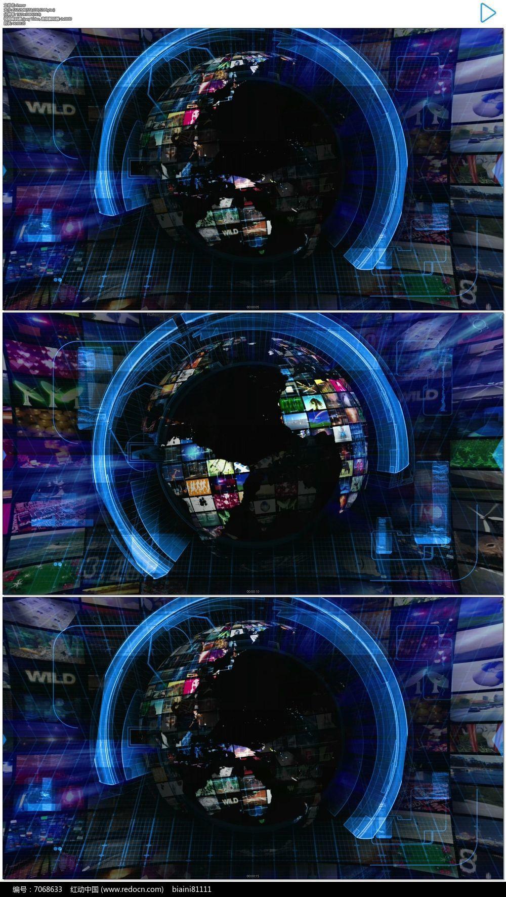 地球新闻栏目包装演播室动态视频素材图片
