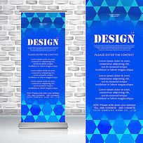 时尚现代蓝色精致六边形艺术展览易拉宝