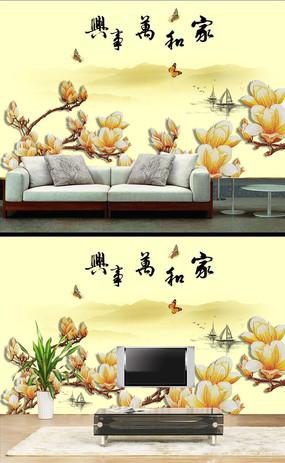 彩雕兰花水墨中式背景墙