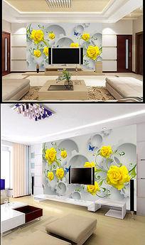 君子兰花朵立体背景墙客厅沙发背景墙