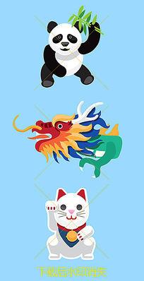 熊猫招财猫龙元素插画