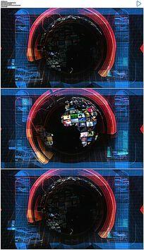 动态演播室旋转地球栏目包装背景视频素材