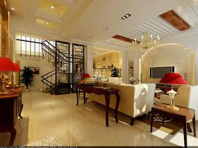 欧式白色墙纸小型客厅效果图