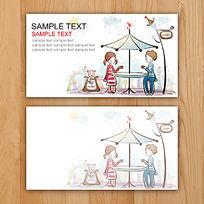 手绘韩国创意风格插画卡片名片