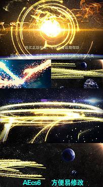 大气震撼宇宙星空光线开场视频片头AE模板
