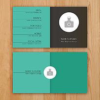 简洁背景蓝绿色企业名片