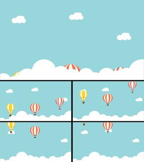卡通天空云层热气球视频