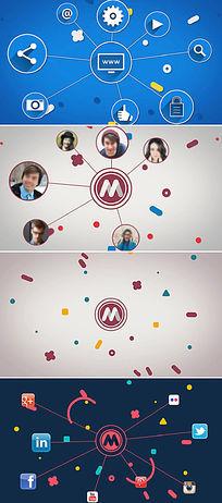 社交网络应用程序图标logo标志展示ae模板