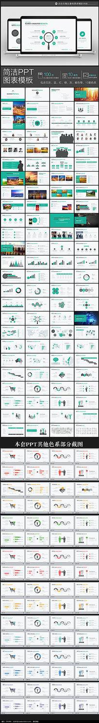 100页10套色蓝色极简低调商务汇报PPT图表