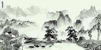 晚归图中式水墨古典高清电视背景墙壁画