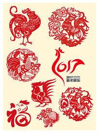 2017鸡元素春节艺术剪纸