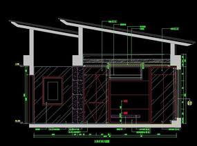 頂層別墅主臥室背景墻立面圖