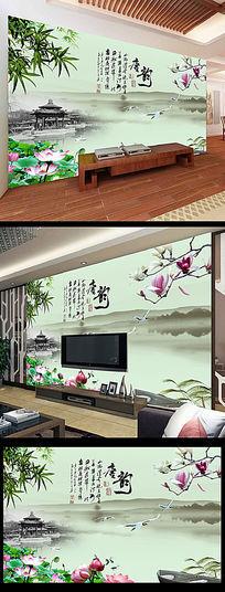 中国风唐韵风情山水画背景墙