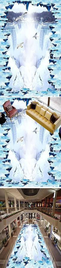冰雪天空瀑布流水立体地画