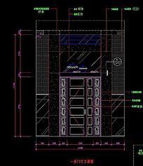 中空别墅一层门厅墙面造型立面图
