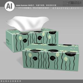 墨绿色中国风抽纸盒包装模板