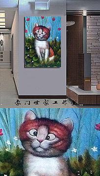 猫的遐想无框装饰画