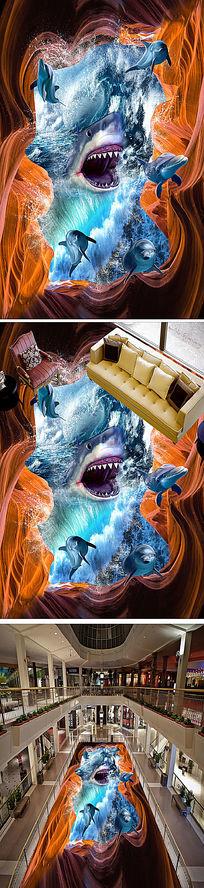 鲨鱼3D立体画街头公园地画