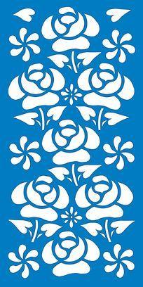 玫瑰花镂空雕设计素材