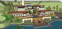 欧式大型带庭院景观喷水池游泳池别墅群度假村模型