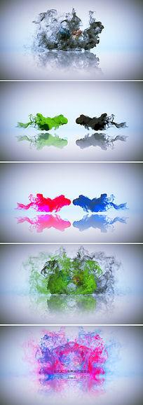 2款中国风水墨烟雾logo演绎模板