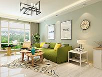 北欧小清新客厅沙发背景墙