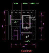 别墅二楼卫生间浴室柜立面造型图